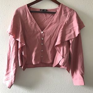 ZARA crop button up
